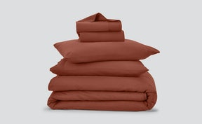 Flat lay of flannel sheets in various colors