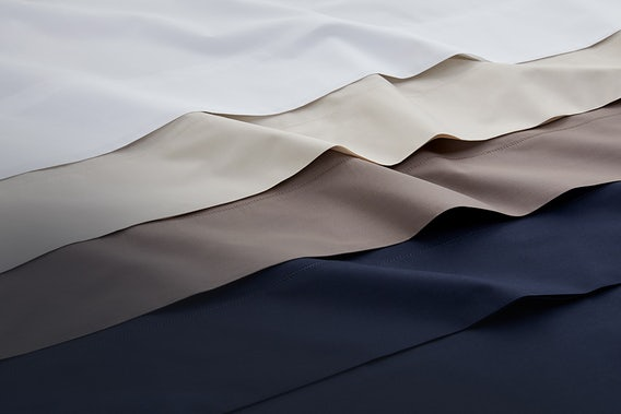 Flat lay of percale sheets