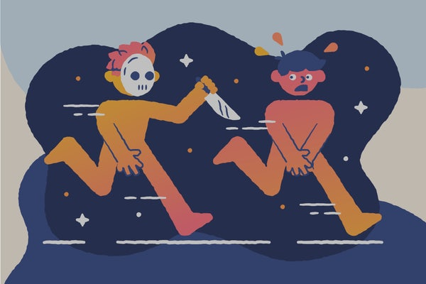 A naked man with a mask and knife chases another naked man. Illustration.