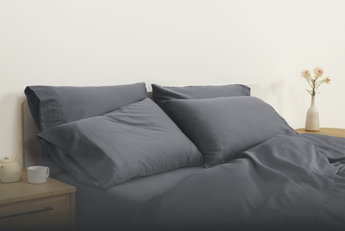 Grey Sateen Sheets and Pillowcases on bed