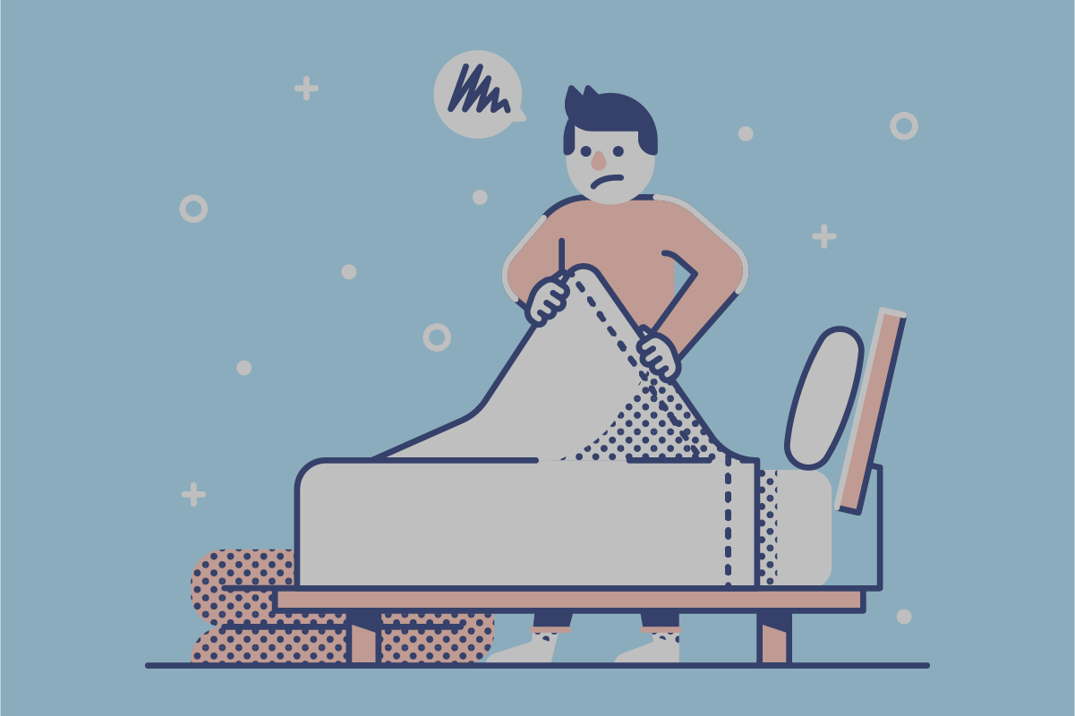 Illustration of man making bed with top sheet