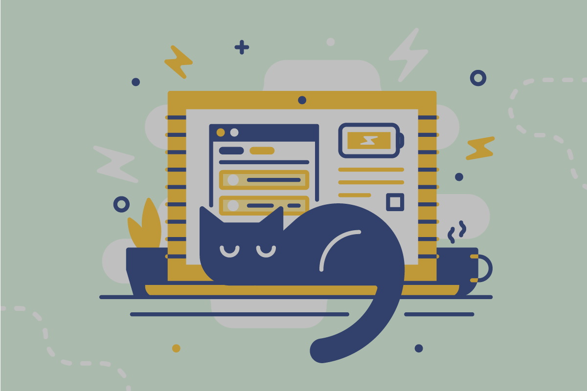 Illustration of cat power napping