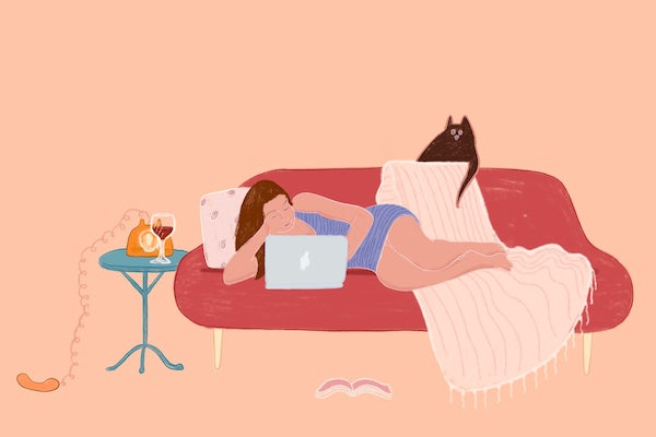 Illustration of woman lounging on couch