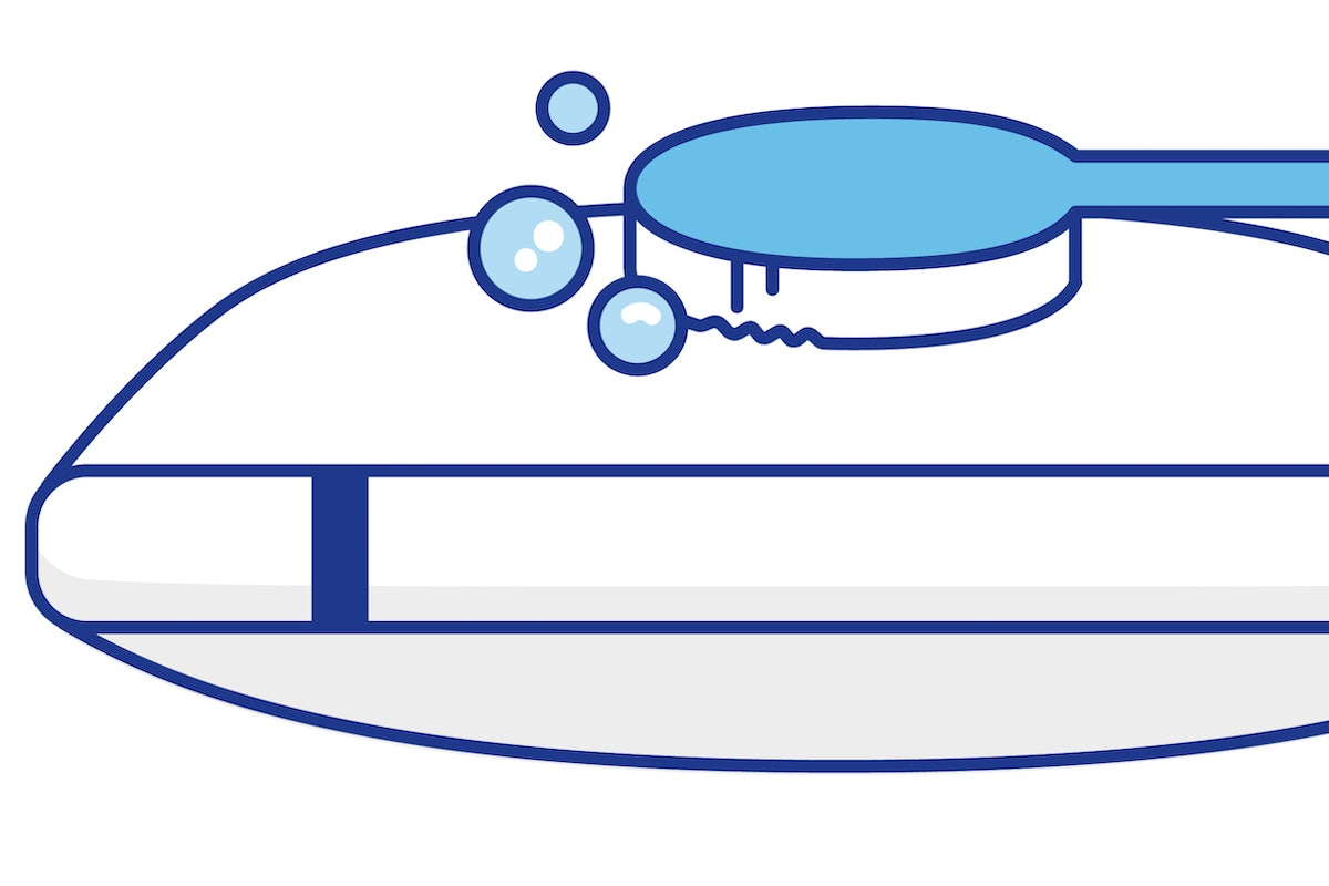 Illustration of a brush cleaning a pillow