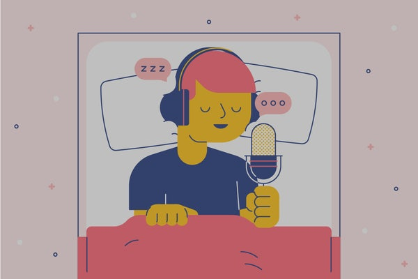 A person sleeps while talking into a microphone. Illustration