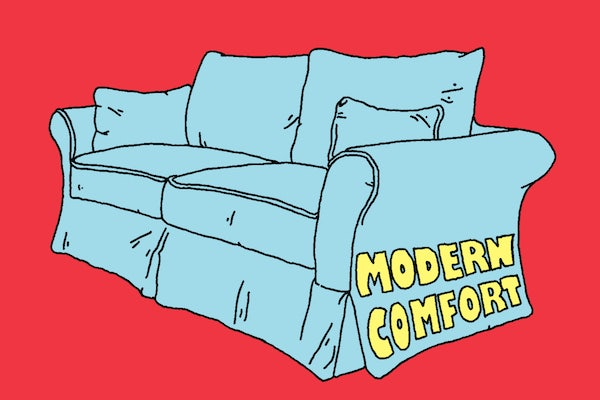 "Illustration of a couch that says ""modern comfort"" on it"