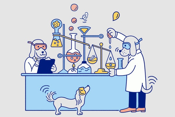 Illustration of dogs in lab coats conducting a science experiment