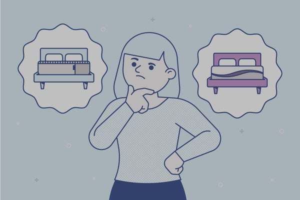 A person looks at two thought bubbles, one with a Casper mattress and one with a Purple mattress.