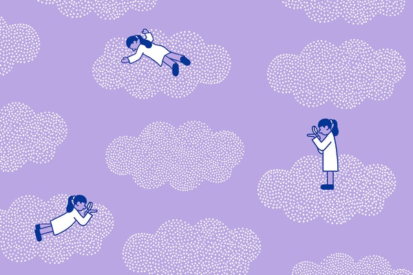 Illustration of sleep scientists on clouds