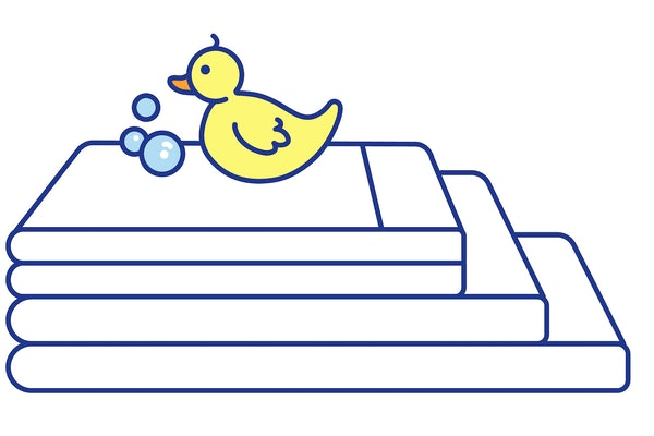 Illustration of rubber ducky on clean sheets