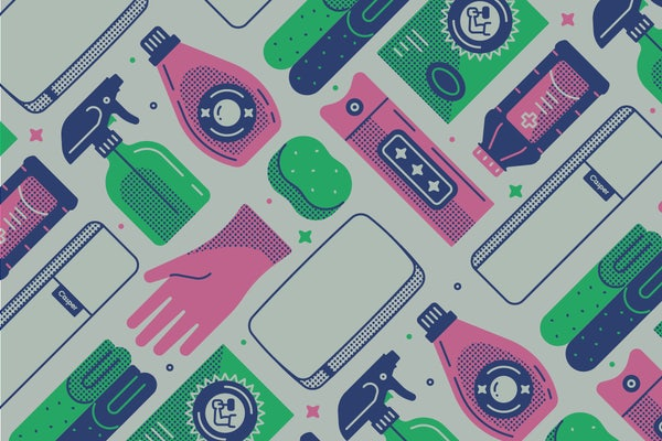 An assortment of cleaning supplies. Illustration.