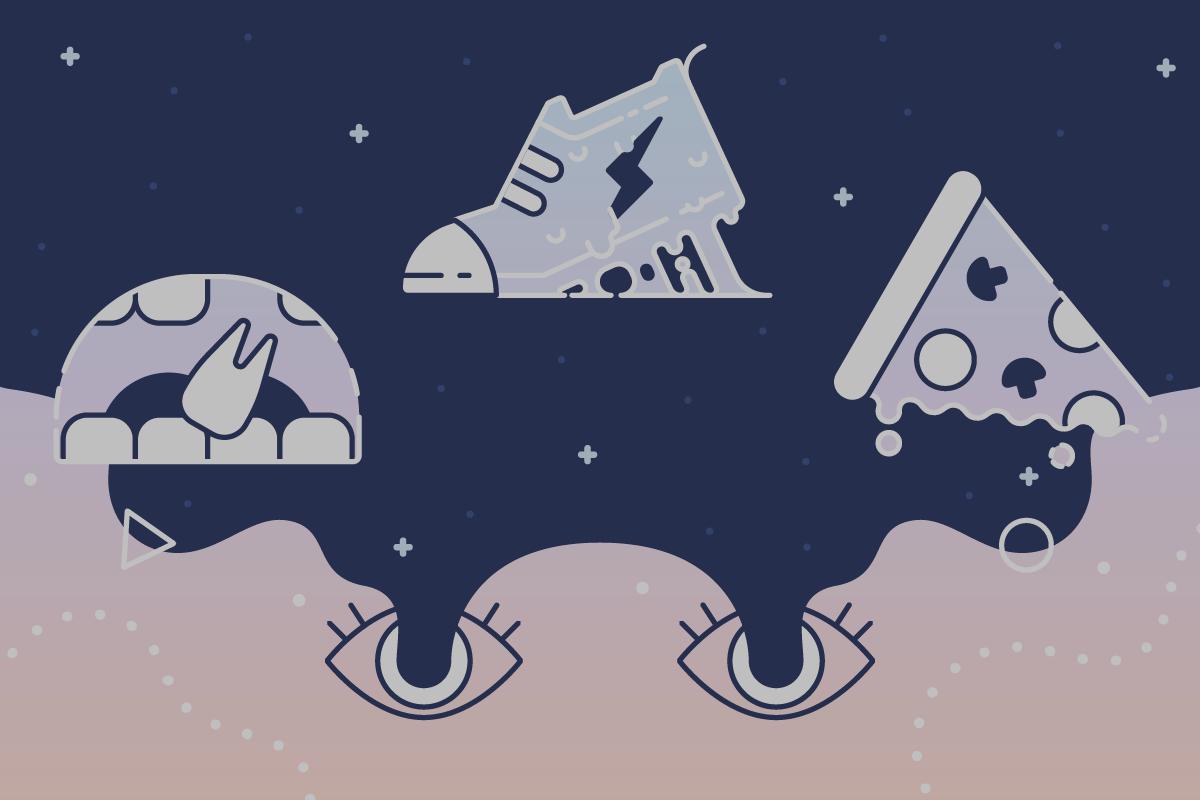 Illustration of eyes having vivid dreams