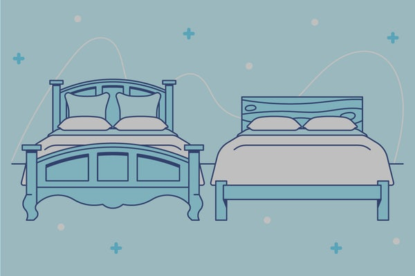 Different types of bedframes next to each other