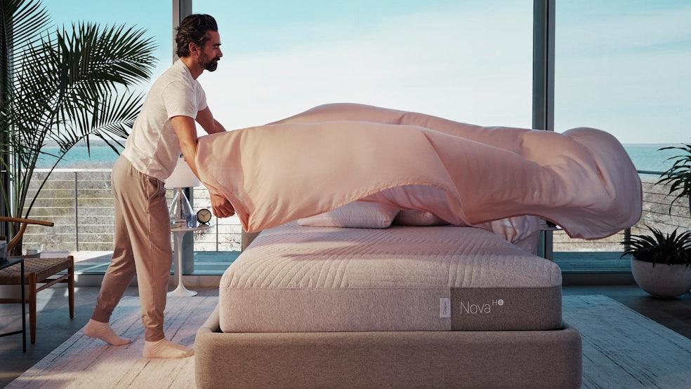 Man setting bed