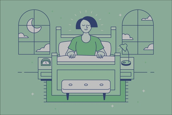 Illustration of woman smiling sitting in bed